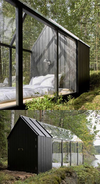 Scandinavian glass house in the woods